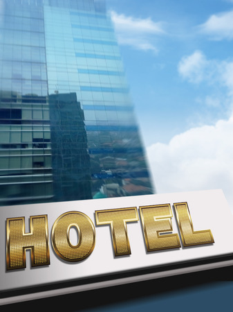 hotel building: Stock image of a Hotel sign on building