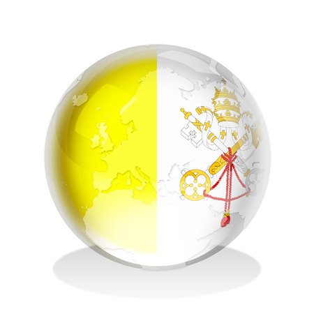 Crystal sphere of Vatican City insignia with world map