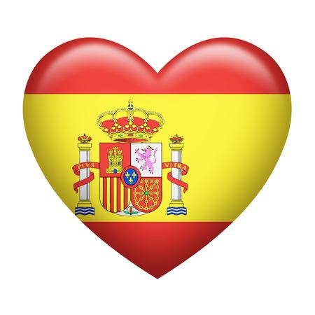 spanish flag: Heart shape of Spanish flag isolated on white