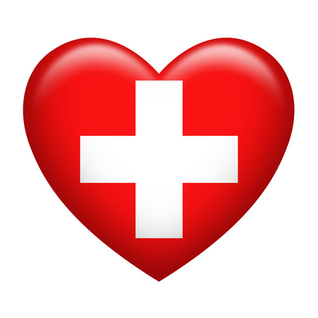 switzerland flag: Heart shape of Switzerland flag isolated on white Stock Photo