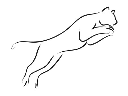 feline: Simple line art of a jumping puma