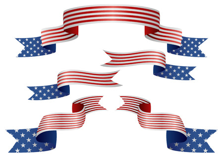 united states flag: Set of USA insignia in different shape of ribbons
