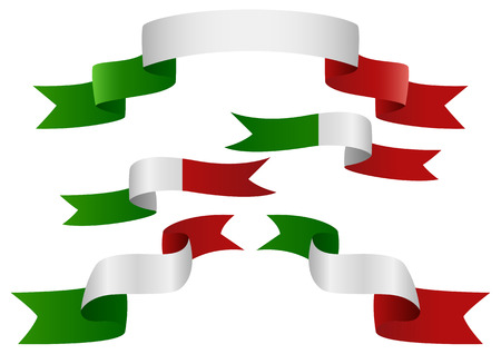 italy flag: Set of Italy insignia in different shape of ribbons Illustration