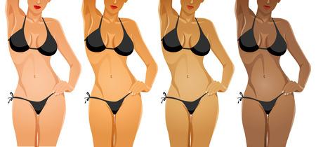 다른 피부 톤 색상의 비키니 여성의 몸