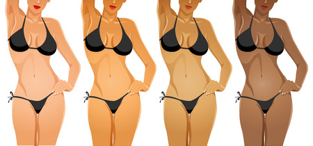 cuerpo femenino: Cuerpo femenino en bikini con diferente color de tono de la piel