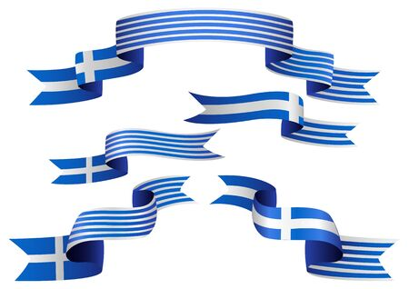 greece flag: Set of Greek insignia in different shape of ribbons Illustration