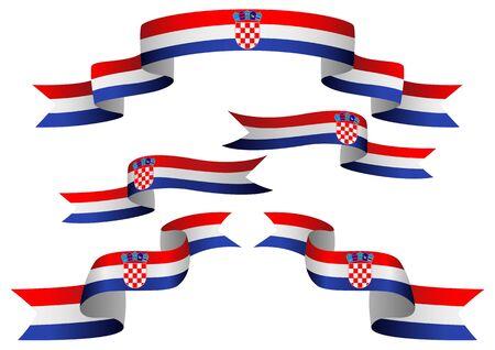 bandera de croacia: Conjunto de insignias de Croacia en diferente forma de cintas Vectores