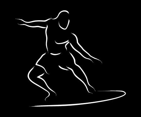 line drawings: Simple line art of a surfer Illustration