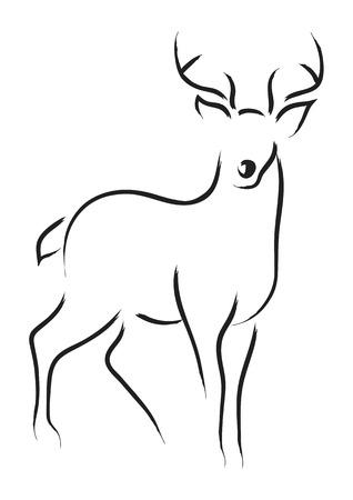 Simple line art of a deer Ilustracja