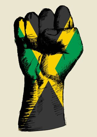 jamaican flag: Sketch illustration of a fist with Jamaica insignia