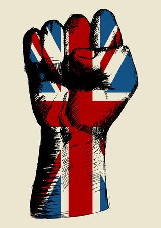 la union hace la fuerza: Ilustración Boceto de un puño con Reino Unido insignia Vectores