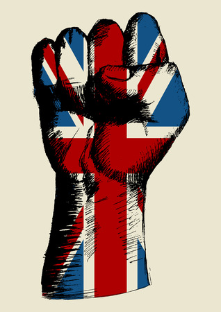 la union hace la fuerza: Ilustraci�n Boceto de un pu�o con Reino Unido insignia Vectores