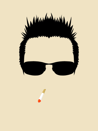smoking cigarette: Face symbol of a man wearing sunglasses and smoking cigarette