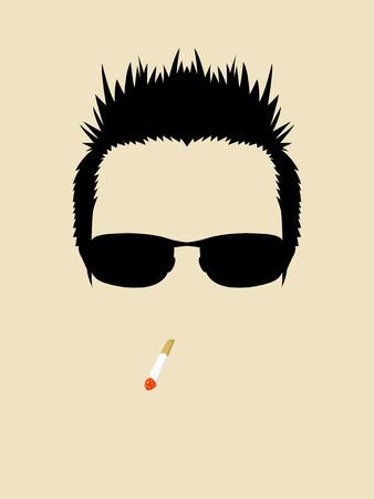 Simbolo Volto di un uomo che indossa occhiali da sole e il fumo di sigaretta
