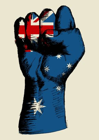 grunge: Sketch illustration of a fist with Australia insignia