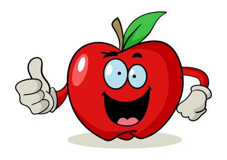 divertido: Personaje de dibujos animados de una manzana que hace los pulgares para arriba
