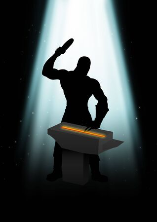 metalwork: Silhouette illustration of a blacksmith under the light
