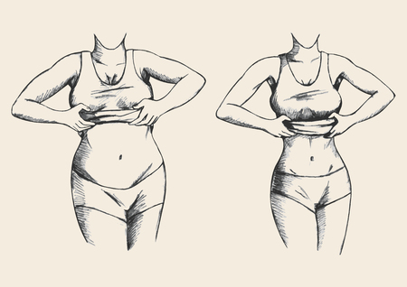 perfect fit: Sketch illustration of a fat and slim woman figure