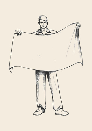 bearer: Sketch illustration of a person holding a blank banner Illustration