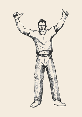 cheering fans: Sketch of a person hands up, doing thumbs up