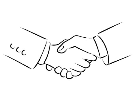 Simple line art of shaking hands