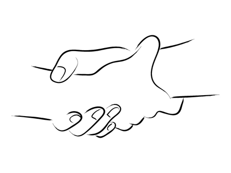 Simple line art of two hands holding each other strongly