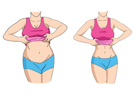 lose weight: Sketch illustration of a fat and slim woman figure