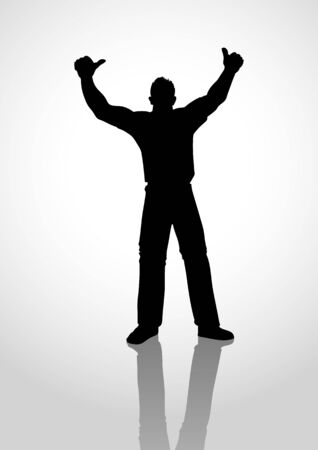 cheer up: Silhouette of a person hands up, doing thumbs up
