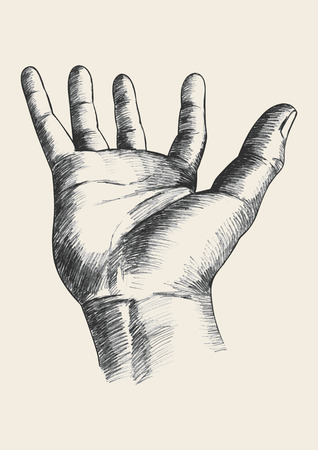 beg: Sketch illustration of a hand gesture Illustration