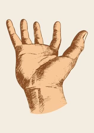 give: Sketch illustration of a hand gesture Illustration