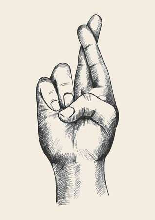 mani incrociate: Illustrazione Sketch di un dita incrociate Vettoriali