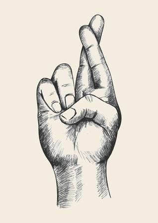 dedo: Ilustração Esboço de um dedos cruzados Ilustração