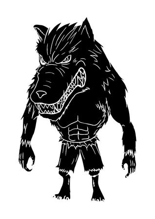 perro furioso: Un hombre lobo en el estilo de ilustración tallada Vectores