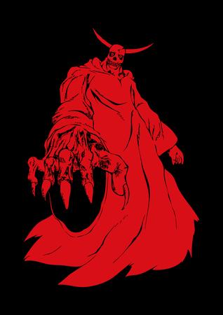 satan: Ilustración de una figura demonio o diablo