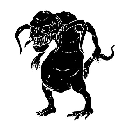 mutation: An ugly monster in carved style illustration
