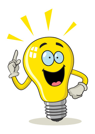 Cartoon illustration of a bulb got ideas Stok Fotoğraf - 44829708