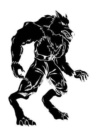 carving: A werewolf in carved style illustration
