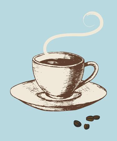 сбор винограда: Эскиз иллюстрации чашкой кофе в винтажном стиле цвета Иллюстрация