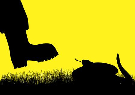 serpiente de cascabel: Ilustración de la silueta de un hombre con botas de serpiente de cascabel se acerca