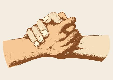 amistad: Ilustración Boceto de dos manos que sostienen entre sí fuertemente Vectores