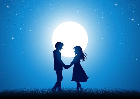 jovenes enamorados: Ilustración de la silueta de la joven pareja cogidos de la mano bajo la luz de la luna