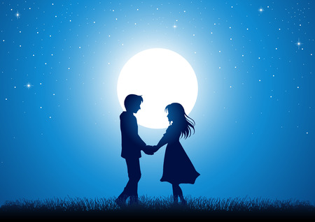 lover boy: Silhouette illustration of young couple holding hands under the moonlight