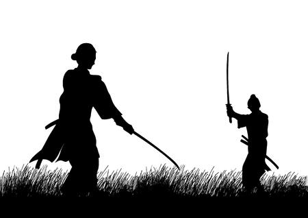 speelveld gras: Twee Samurai in duel houding tegenover elkaar op het gras veld