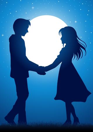 Silhouet illustratie van jonge paar hand in hand onder het maanlicht Stock Illustratie