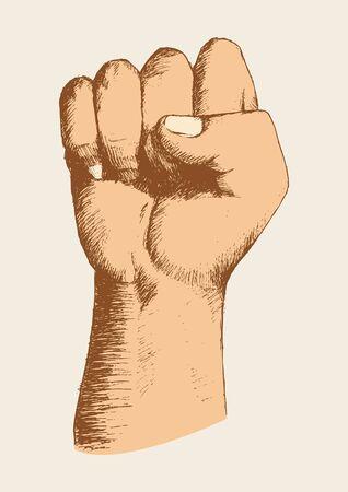 Sketch illustration of a right fist Illustration