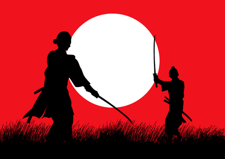 Two Samurai in duel stance facing each other on grass field