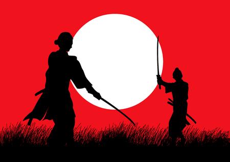 Twee Samurai in duel houding tegenover elkaar op het gras veld