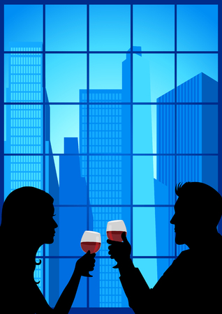 special moments: Silhouette of couple facing close to each other and holding wineglasses