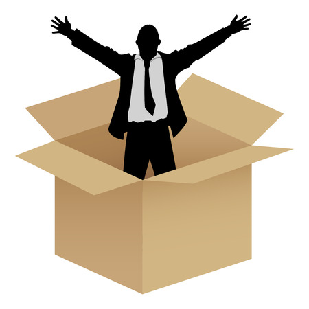 think out of the box: Silhouette of a businessman comes out of box Illustration