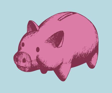 piggy: Retro style illustration of a piggy bank